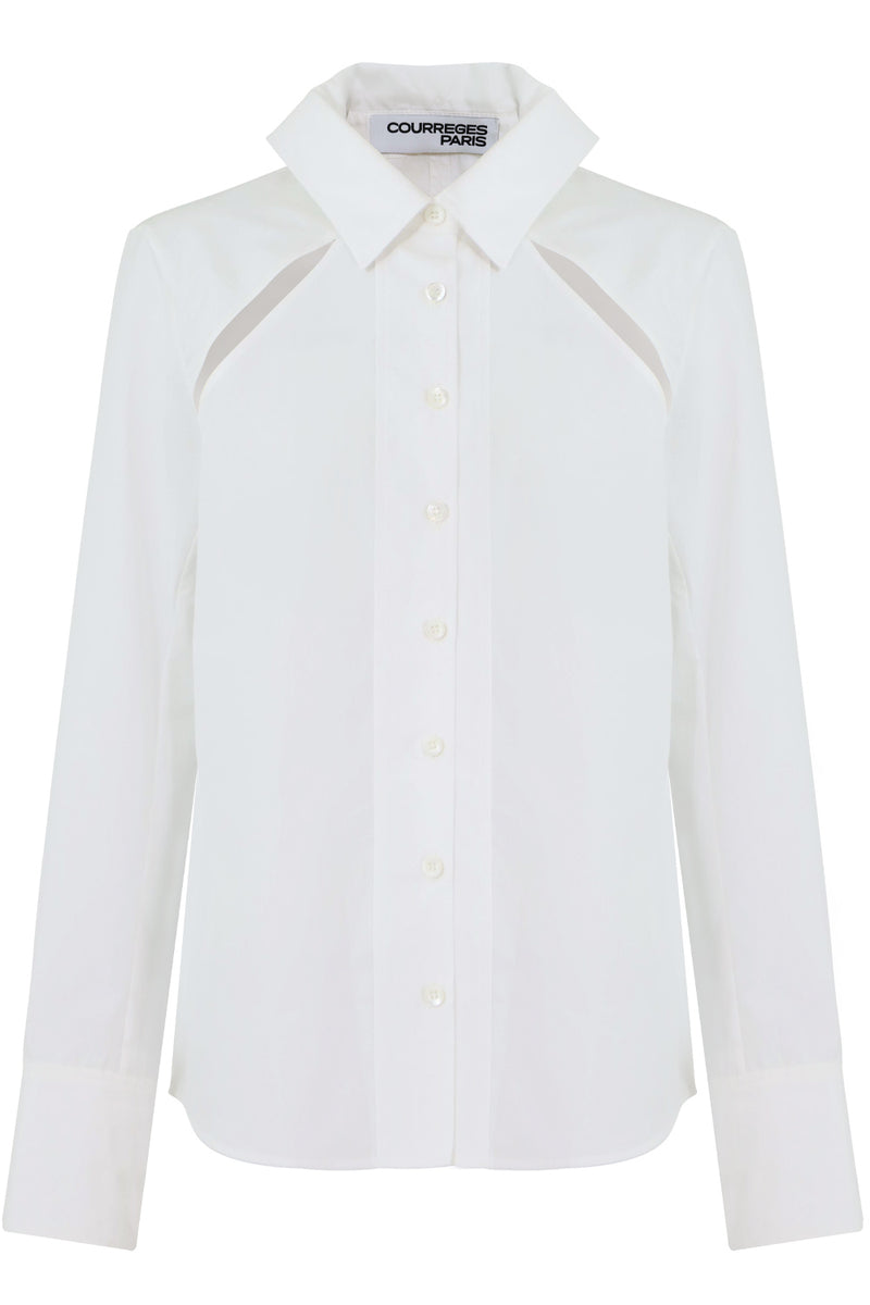 SHOULDER CUTOUT BLOUSE L/S WHITE