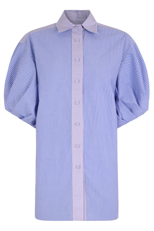 STRIPED BUTTON UP SHIRT S/S BLUE