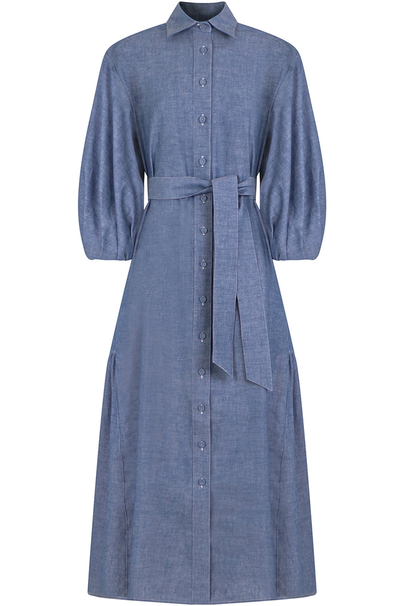 CHAMBRAY LONG BALLOON DRESS L/S BLUE DENIM