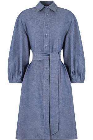 CHAMBRAY MINI BALLOON DRESS L/S BLUE DENIM