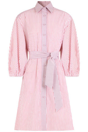 STRIPED MINI BALLOON DRESS L/S RED