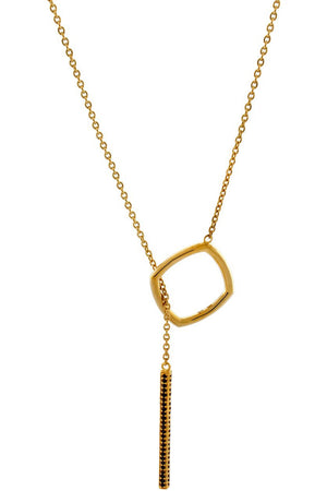 ACCENT Y NECKLACE WITH BLACK DIAMONDS GOLD