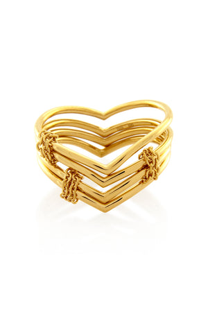 INVERTED 4 CHAIN RING GOLD