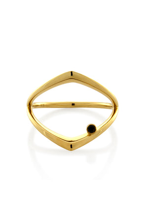INVERTED RING WITH BLACK DIAMOND GOLD
