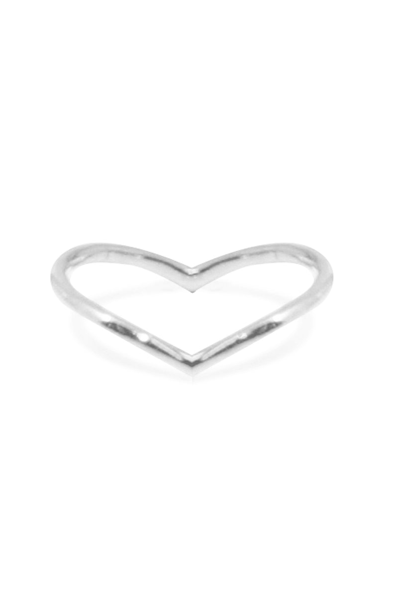 INVERTED V RING SILVER