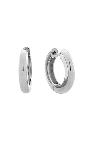 TUBE HUGGIE EARRINGS 11MM SILVER