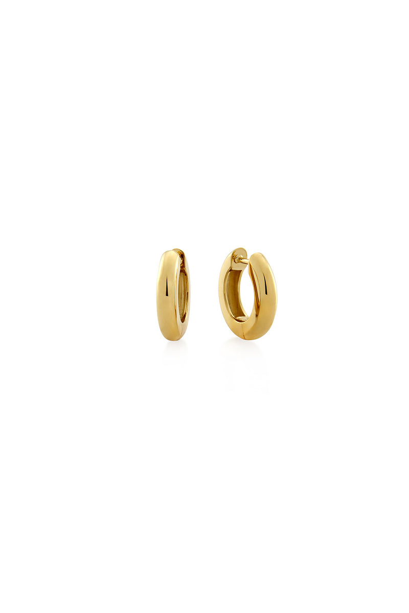 TUBE HUGGIE EARRINGS 9MM GOLD