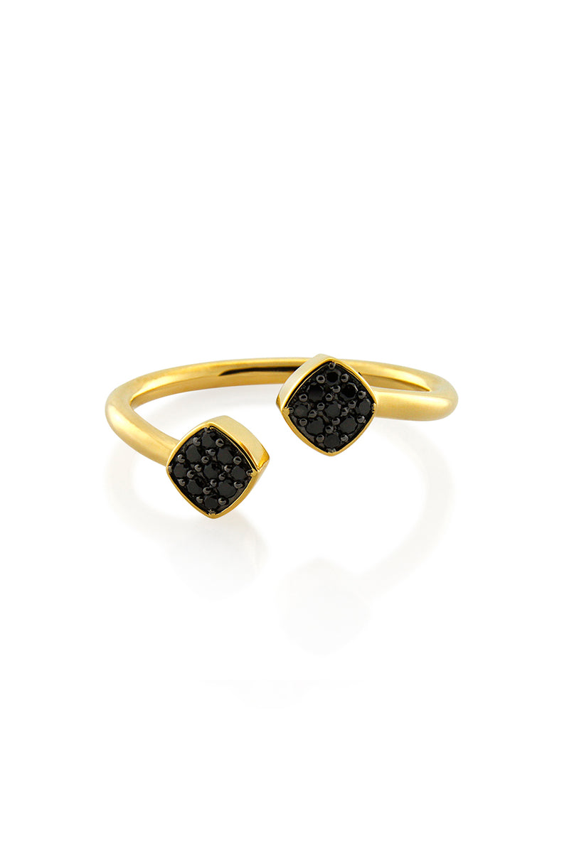BLACK PAVE DOUBLE DIAMOND RING