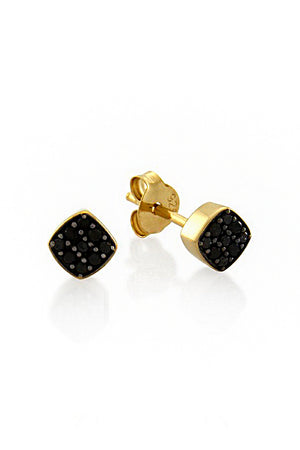 BLACK PAVE STUD EARRINGS