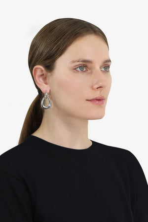 LIZ DOUBLE HOOP EARRINGS SILVER