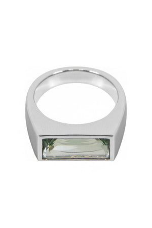 PEAKY RING GREEN QUARTZ SILVER