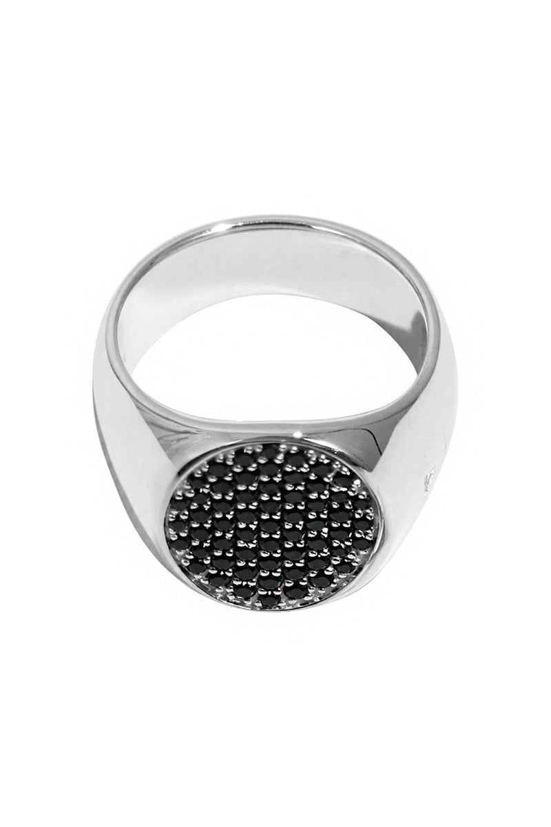 PINKIE OVAL RING BLACK SPINEL SILVER