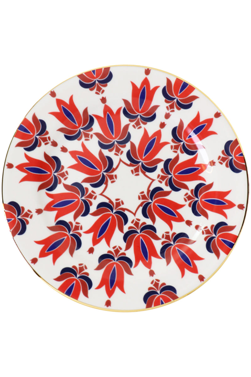 TRANSYLVANIA MIX DESSERT PLATES SET OF 6 RED/BLUE