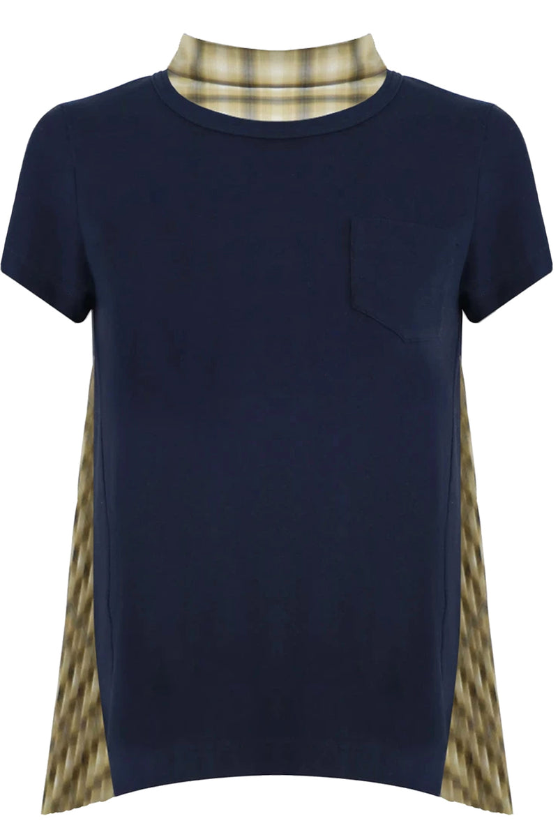 OMBRE CHECK T-SHIRT WITH PLEATED BACK S/S NAVY/YELLOW