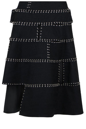 NOIR BONDED CHAIN SKIRT BLACK