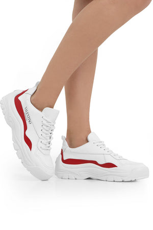 GUMBOY PANEL SNEAKERS WHITE/RED