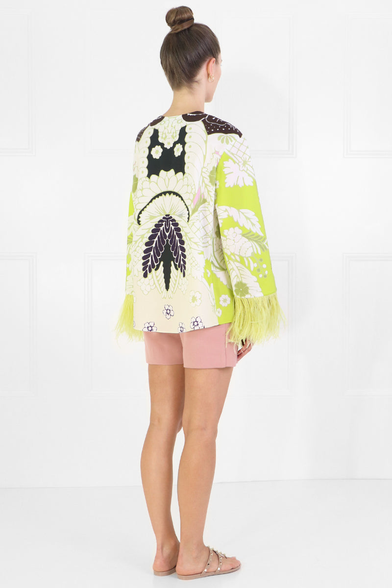TROPICAL PRINT BLOUSE WITH OSTRICH SLEEVES LIME
