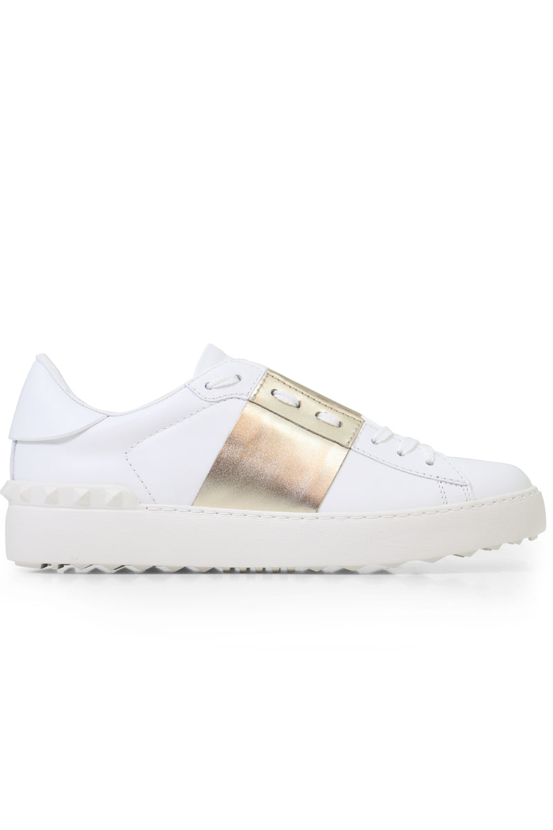 OPEN SNEAKER WITH LACES AND METALLIC STRIPE WHITE/GOLD