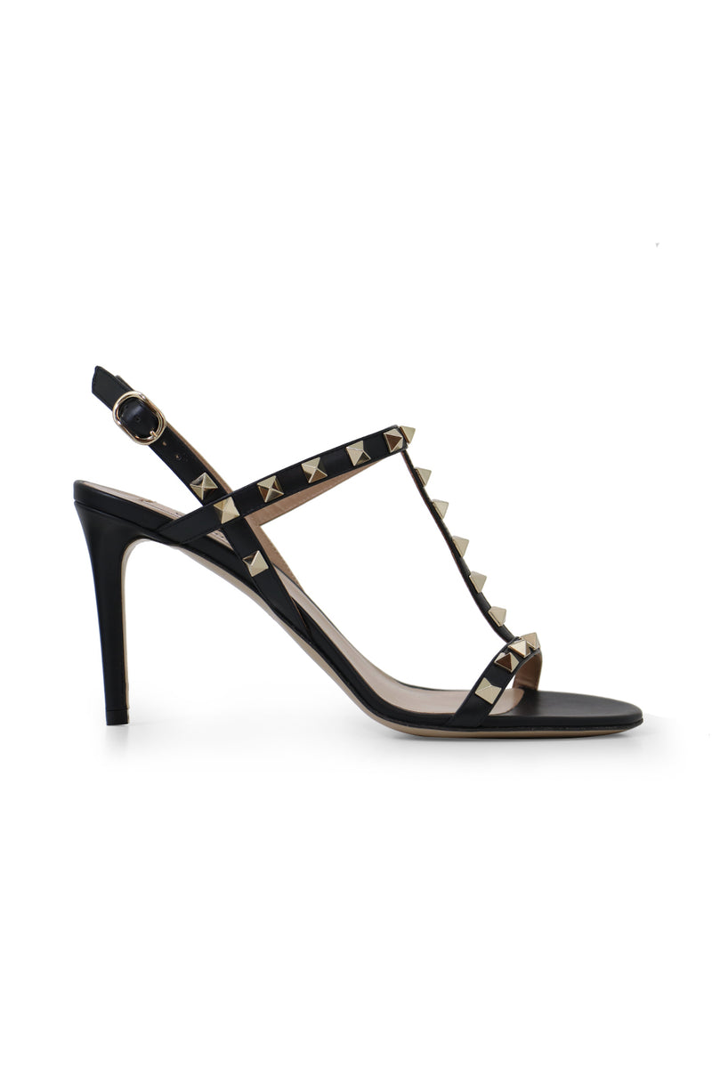 ROCKSTUD T-BAR SANDAL 85MM BLACK