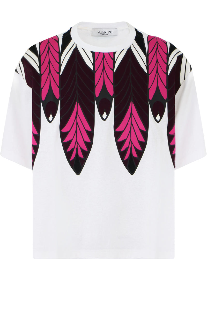 FEATHER PRINT T-SHIRT WHITE/ROSE