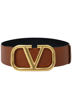 V RING REVERSIBLE BELT 70MM BLACK/TAN