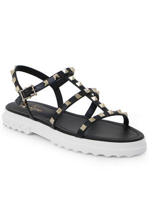 CHUNKY ROCKSTUD THREE STRAP SANDAL BLACK/WHITE