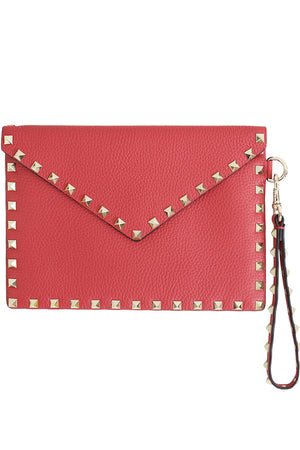 SMALL ROCKSTUD ENVELOPE POUCH GRAINED LEATHER ROCK PINK