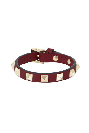 ROCKSTUD LEATHER CUFF CERISE