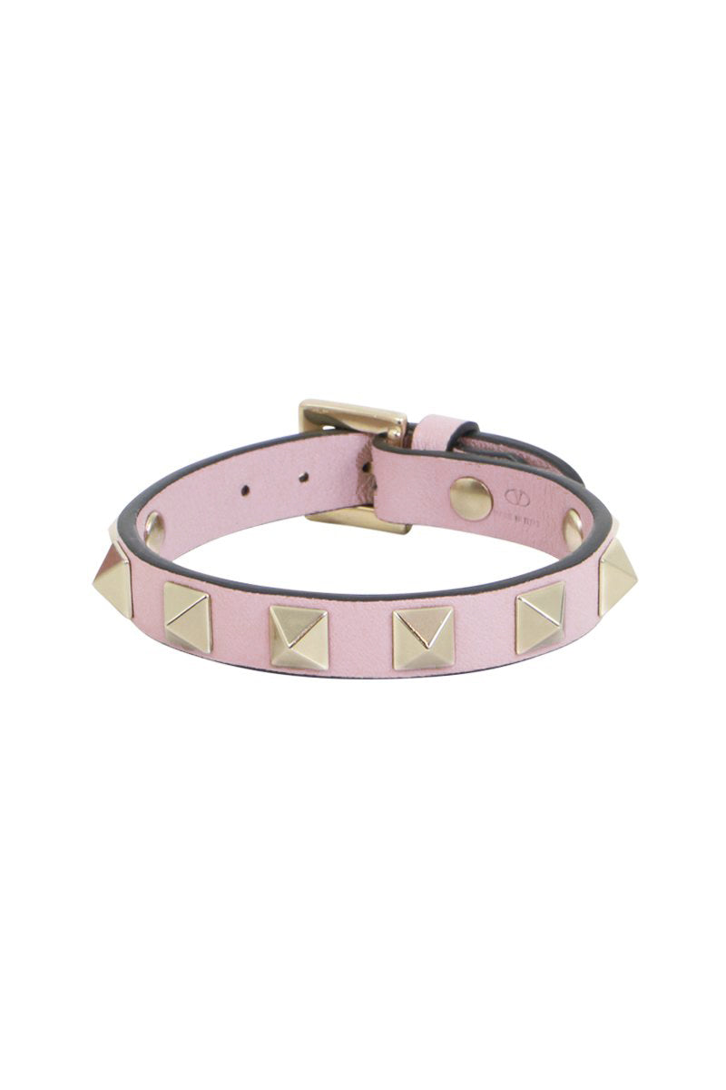 ROCKSTUD LEATHER CUFF ROSE QUARTZ