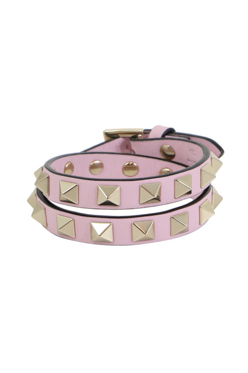 ROCKSTUD WRAP LEATHER CUFF ROSE QUARTZ