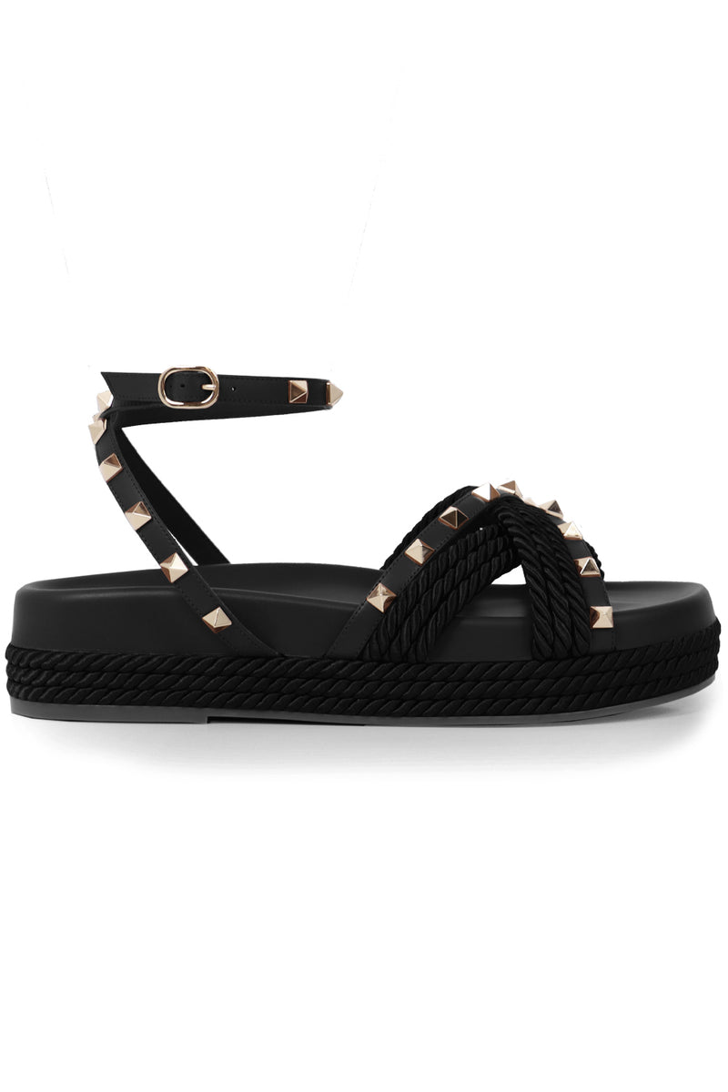 ROCKSTUD ROPE SANDALS BLACK