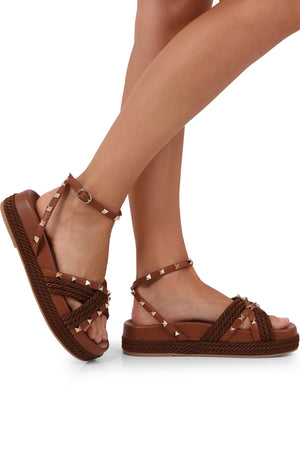 ROCKSTUD ROPE SANDALS BROWN