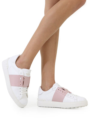 OPEN SNEAKER WITH LACES AND LEATHER STRIPE WHITE/WATER ROSE