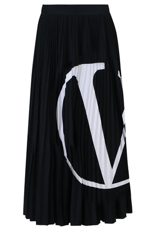 LOGO PLEATED SKIRT BLACK/WHITE