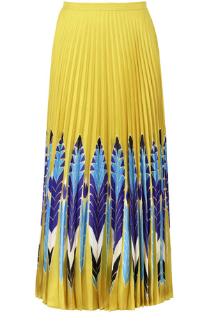 FEATHER PRINT PLEATED SKIRT YELLOW