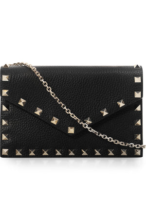 ROCKSTUD ENVELOPE CLUTCH ON CHAIN BLACK