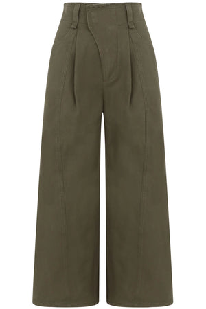 WIDE LEG CROPPED PANTS GRAPE LEAF