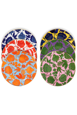 WILDBIRD MIX DESSERT PLATES SET OF 6 MULTI