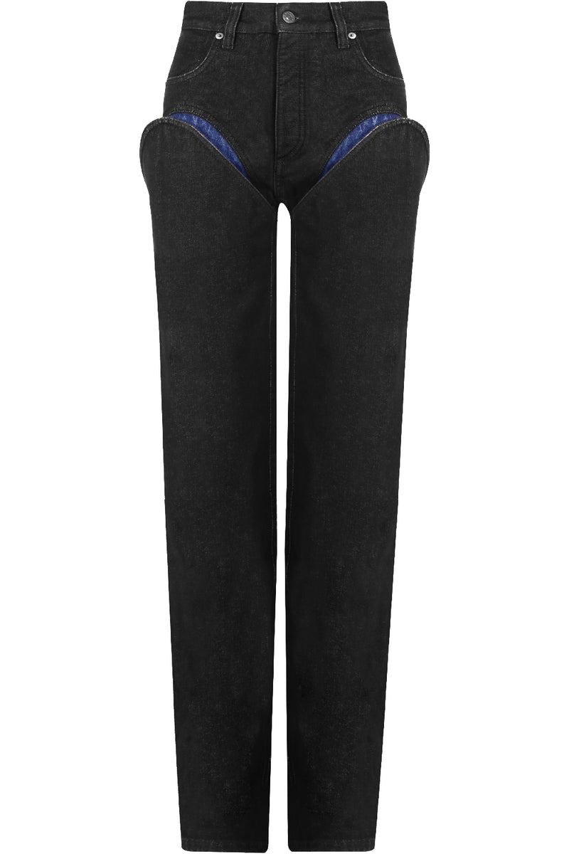 CUTOUT JEANS BLACK/NAVY DENIM
