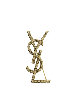 YSL INTERLACED ROPE BROOCH GOLD