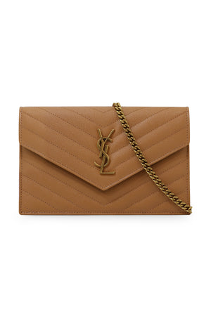 MONOGRAMME ENVELOPE QUILTED CHAIN WALLET DUNE/GOLD
