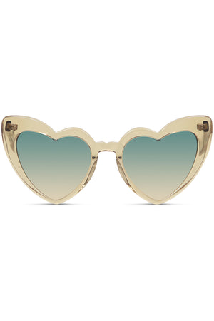 NEW WAVE 181 LOULOU HEART SUNGLASSES HONEY GOLD