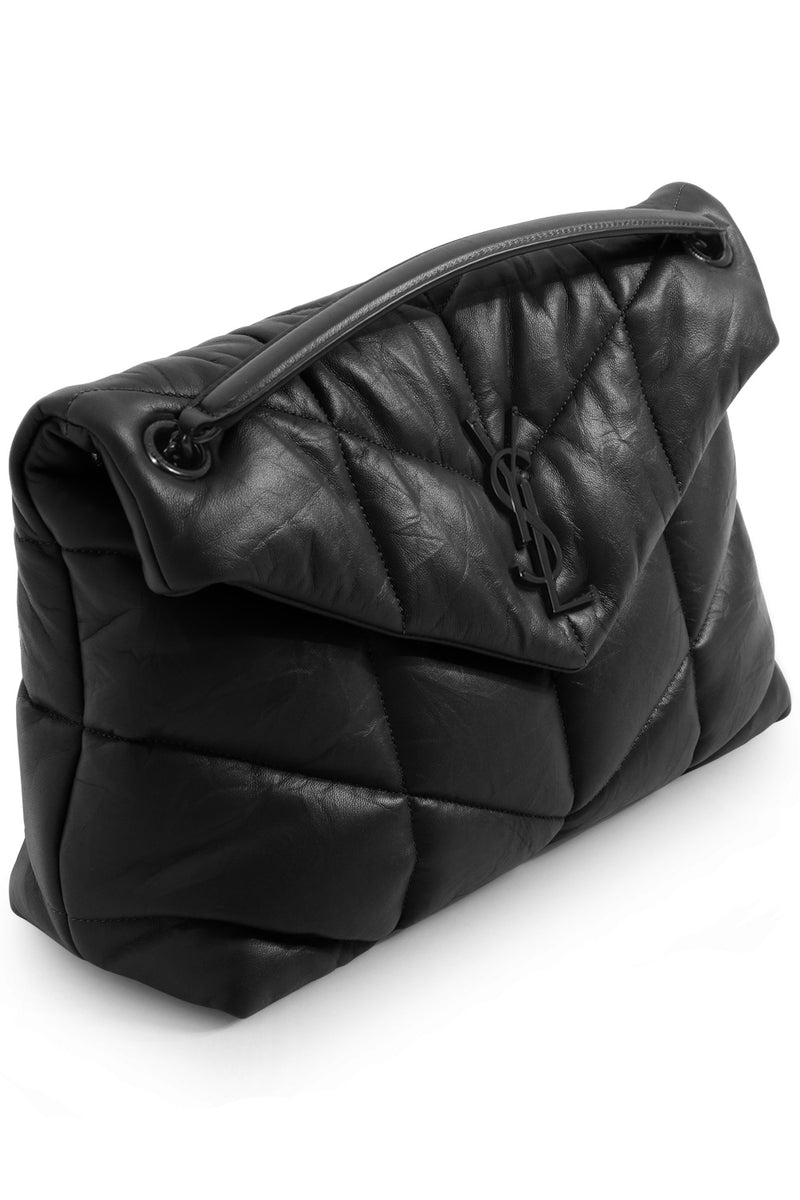 LOULOU MEDIUM PUFFER BAG MATTE BLACK/BLACK
