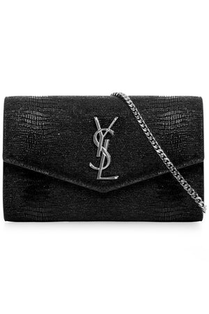 UPTOWN MONOGRAMME CHAIN WALLET EMBOSSED LIZARD BLACK/SILVER
