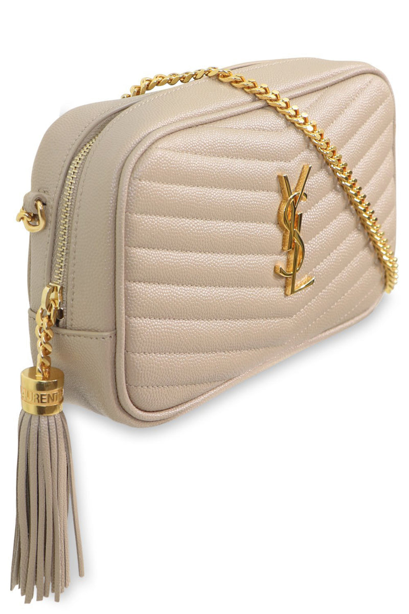LOU MINI QUILTED CAMERA BAG DARK BEIGE/GOLD