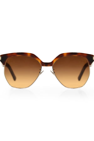 408 HEXAGONAL SUNGLASSES HAVANA BROWN