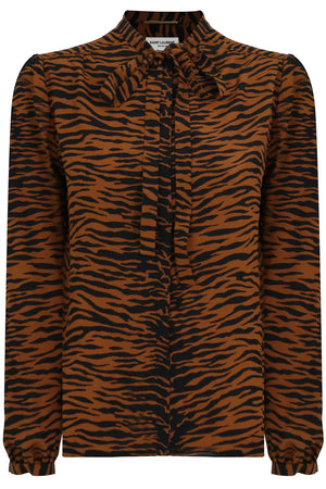 TIGER PRINT TIE UP BLOUSE BROWN
