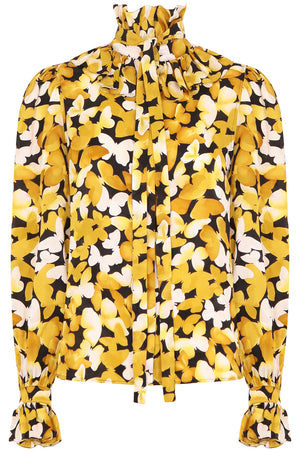 BUTTERFLY PRINT BLOUSE L/S YELLOW/BLACK