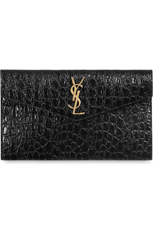 UPTOWN POUCH CROC EMBOSSED BLACK/GOLD