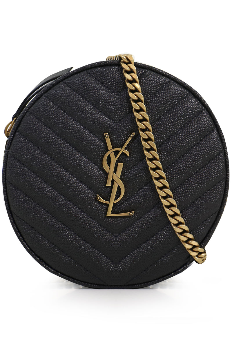 MONOGRAMME QUILTED CIRCLE BAG BLACK/GOLD